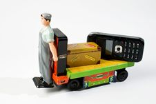 Free Old Battery Car Toy With Packge And Mobile Phone Royalty Free Stock Photos - 6508998