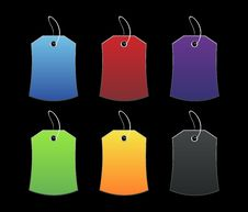 Free Colored Tags - 3 - On Black Stock Image - 6511361