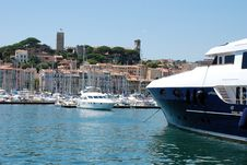Yachts Moored In Cannes Marina Stock Photo