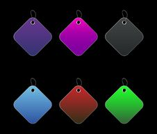 Free Colored Tags - 7 - On Black Royalty Free Stock Photo - 6512585