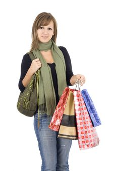 Free Happy Girl Holding Shopping Bags Stock Photo - 6512800