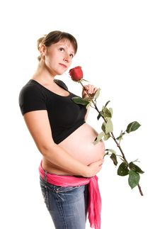 Beautiful Pregnant Woman With A Rose Royalty Free Stock Photos