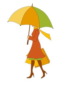 Free Colorful Woman With Umbrella And Shopping Bags Stock Images - 6518154