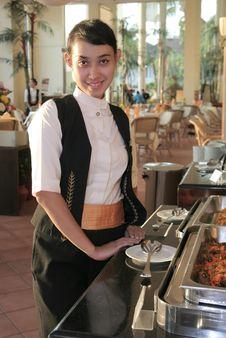 Beautiful Waitress Royalty Free Stock Photo
