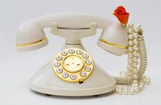 Free Vintage Phone With Pearls And Red Flower Stock Image - 6519671
