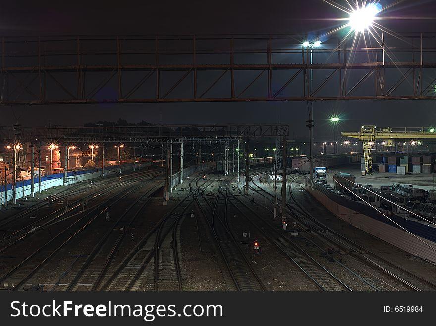 Railroad in night