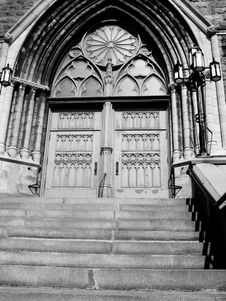 Free Church Doors B/W Royalty Free Stock Photos - 6520748