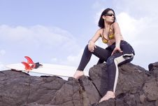 Free Pretty Surfer Girl Waiting For Waves Royalty Free Stock Photography - 6522427