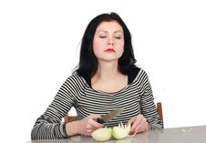 Woman With Onion Stock Images