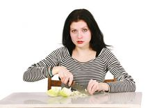 Woman With Onion Royalty Free Stock Photo