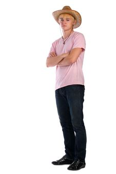 Free Young Man In Pink Shirt And Cowboy Hat Royalty Free Stock Photos - 6525298
