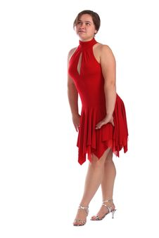 Free Chubby Girl In Red Dress Dancing Royalty Free Stock Image - 6525306