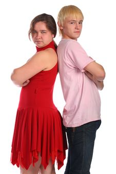 Free Young Man And Woman Stands Back-to-back Stock Photography - 6525312