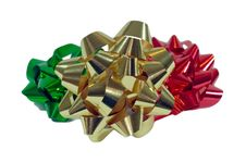 Free Three Colorful Christmas Bows Royalty Free Stock Images - 6525509