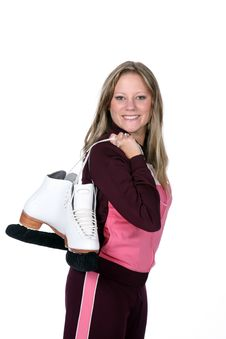 Free Woman Holding Figure Skates Stock Photography - 6526762