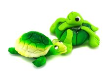 Two Hand-made Green Turtles Royalty Free Stock Photo