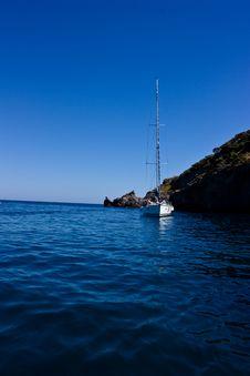 Sail Yacht At Anchor Stock Photo