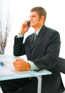 Free Happy Businessman On The Phone Royalty Free Stock Image - 6529376