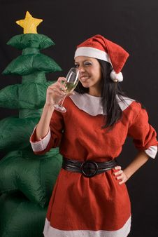 Young Sexy Santa Claus Girl On Black Background Stock Photography