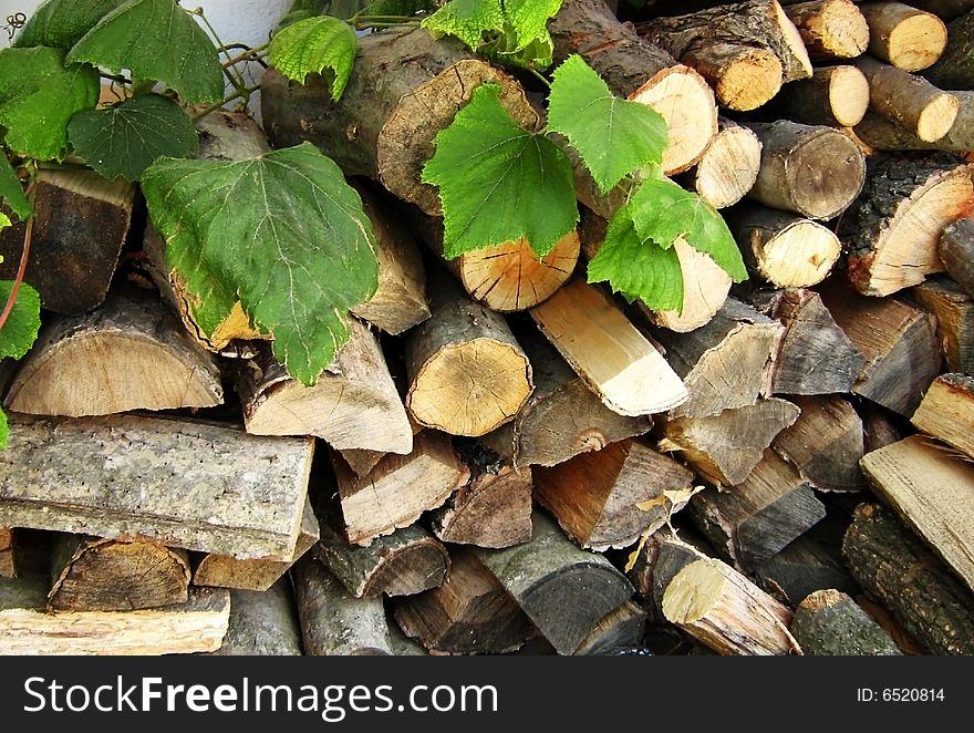 Woodpile. Fire wood for the furnace.