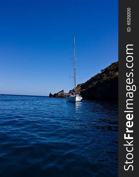 Sail yacht at anchor