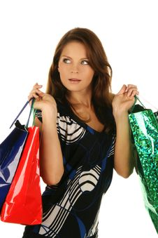 Free Shopping Happy Woman. Isolated Over White Backgrou Royalty Free Stock Photo - 6530215