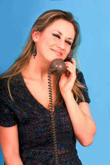 Woman Talking In Telephone Very Pretty Stock Images