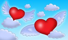 Free Hearts With Wings On Blue Sky. Stock Photography - 6530652