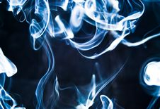 Abstract Blue Smoke Isolated On Black Stock Images