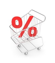 Free Shopping Cart With Percent Sign Royalty Free Stock Photos - 6530758