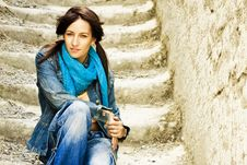 Free Young Woman On Stone Stairs Royalty Free Stock Image - 6530836
