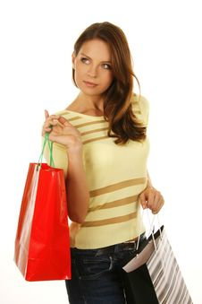 Free Beautiful Girl With Shopping Bag Royalty Free Stock Photography - 6531777