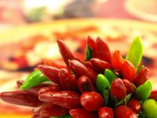 Chili Pepper And Hot Red Pepper Very Close Stock Photography