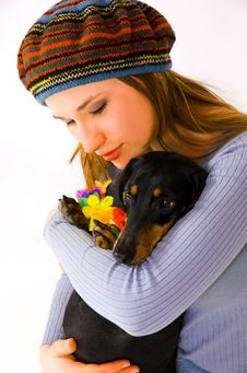 Free The  Teenager And A Dog Royalty Free Stock Photography - 6533507