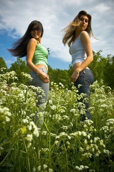 Free Two Girls On A  Meadow Stock Photography - 6533812