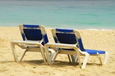 Free Two Sun Beach Chairs Royalty Free Stock Photography - 6535267