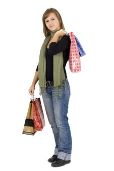 Free Happy Girl Holding Shopping Bags Stock Photo - 6537890
