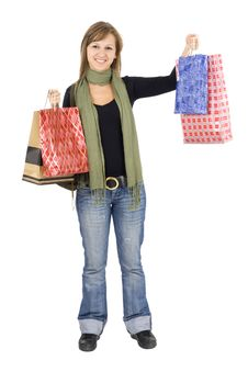Free Happy Girl Holding Shopping Bags Stock Image - 6537891