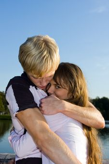 Free Handsome Boy Embracing His Attractive Girlfriend Royalty Free Stock Image - 6538076