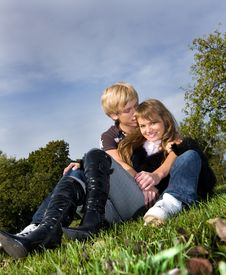 Free Handsome Boy Embracing His Attractive Girlfriend Stock Photography - 6538142