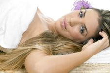 Relaxing Blonde Model Looking You Stock Photography