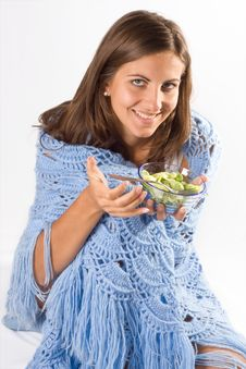 Free Woman Eating Salad Royalty Free Stock Images - 6539249