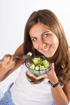 Free Woman Eating Salad Stock Photo - 6539300