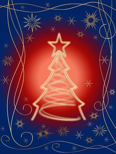 Free Golden 3d Christmas Tree 2 Royalty Free Stock Photo - 6539505