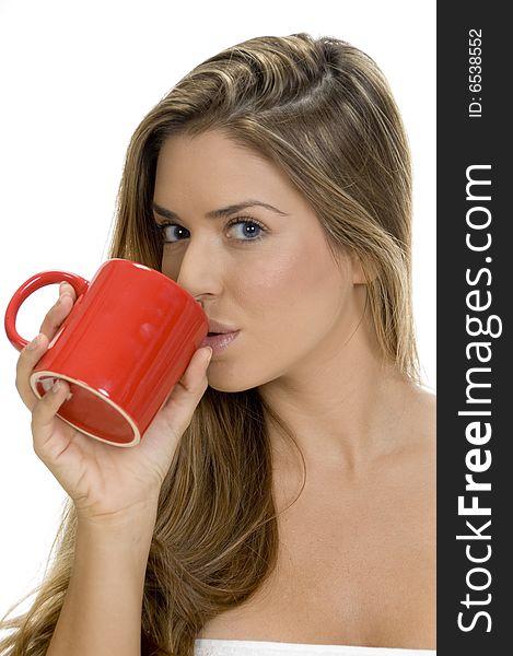 Lady drinking with coffee mug