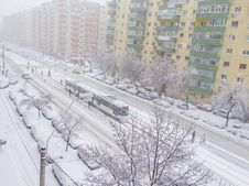 Free January 2016 First Snow In Bucharest Royalty Free Stock Photos - 65300658