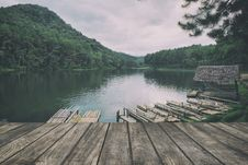 Free Wooden Floor With Lake Landscape. Stock Photos - 65321923