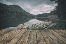 Free Wooden Floor With Lake Landscape Stock Images - 65322034