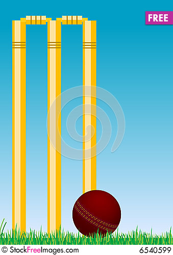 Free Cricket Ball In The Grass 2 Royalty Free Stock Images - 6540599
