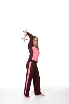 Woman Lifting Heavy Barbell Over White Background Royalty Free Stock Image